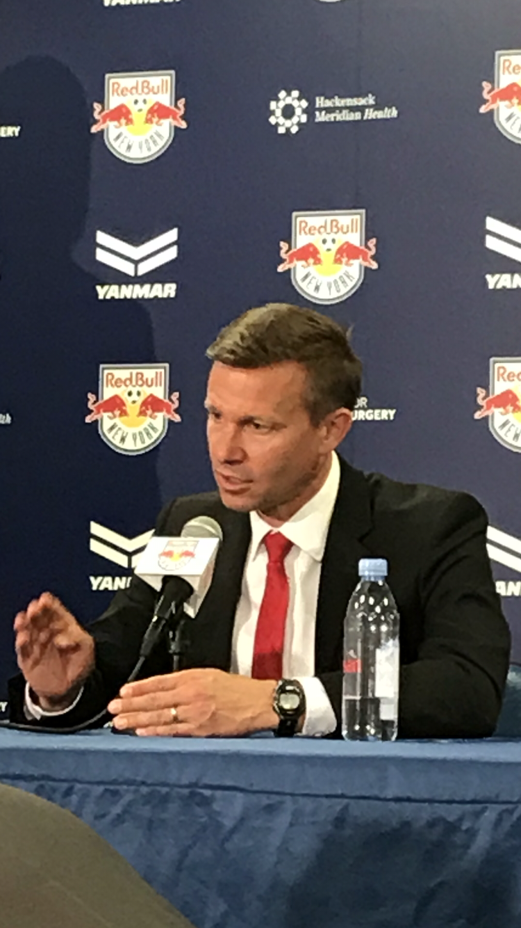 New York Red Bulls head coach Jesse Marsch addresses the media following his sides 4-0 victory over NYCFC.