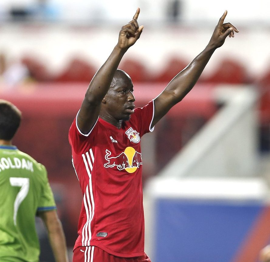 Bradley Wright-Phillips celebrates after scoring against Seattle.  Credit to New York Red Bulls.