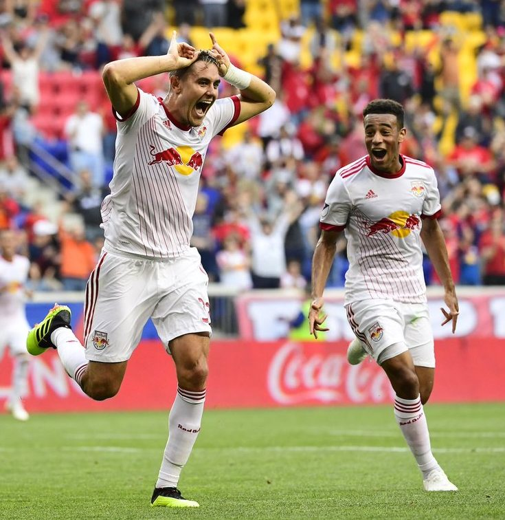 Aaron Long celebrates his goal Saturday night. New York was victorious 3-0.  Credit to New York Red Bulls