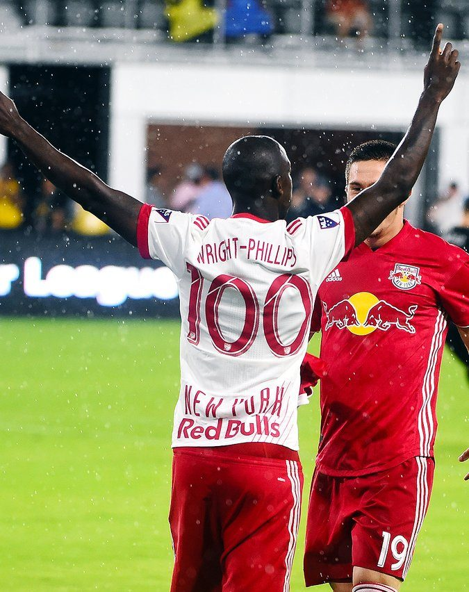 Bradley Wright-Phillips celebrates after becoming the 11th player in MLS history to reach 100 goals. Credit to New York Red Bulls.