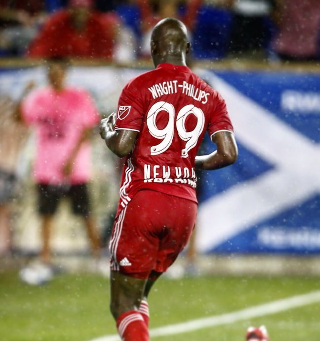 Bradley Wright-Phillips after scoring his 99th MLS goal Saturday night against New England. Credit to New York Red Bulls.