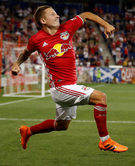 Marc Rzatkowski celebrates after scoring against Sporting Kansas City.  Credit to New York Red Bulls